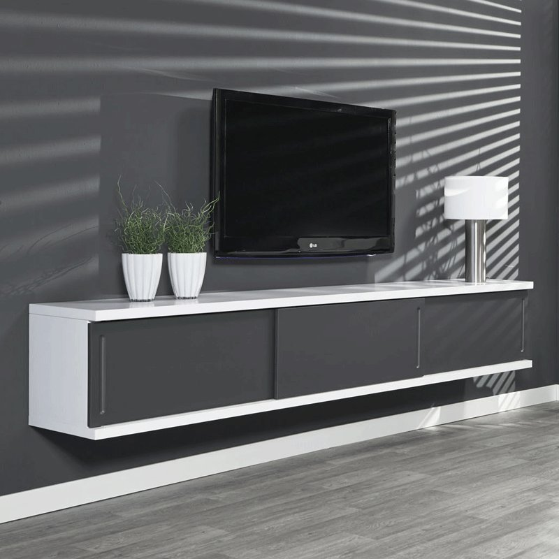 Zwevend grijs tv meubel Giani Laret 160 G : Onlinedesignmeubel.nl