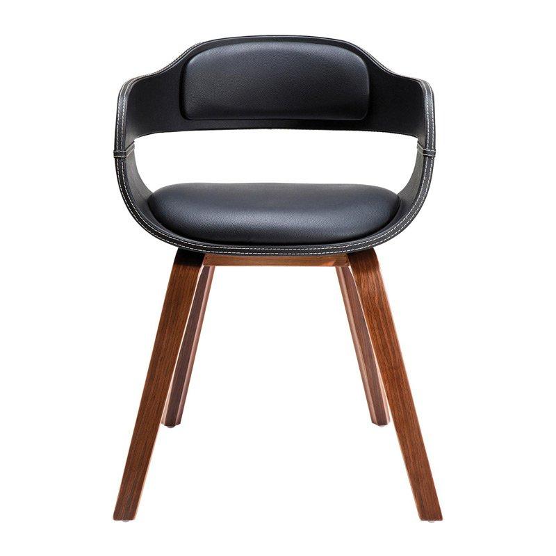 Retro stoel notenhout en kunstleer