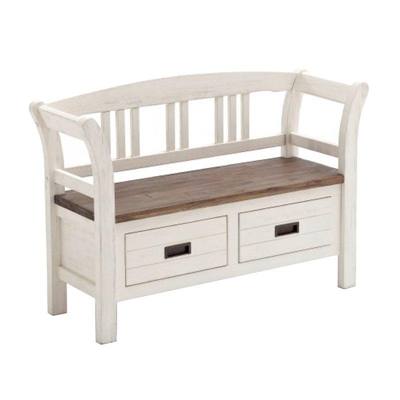 Landelijk bankje met houten zitvlak