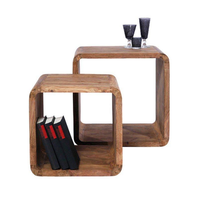 Bijzettafelset hout Authentico Cube