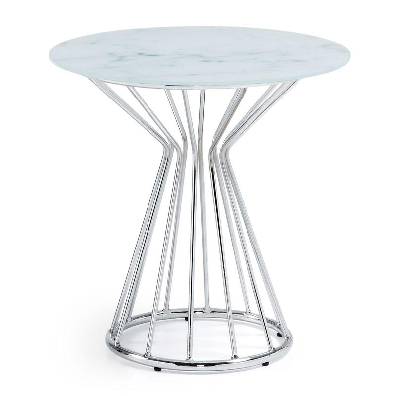 Bijzettafel van glas LaForma Metaal Wit