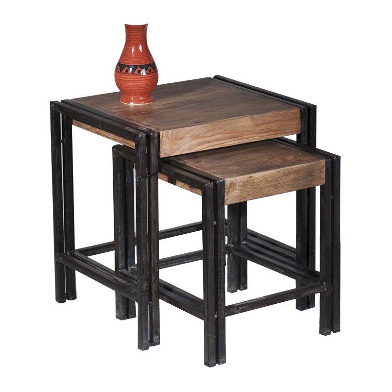 Bijzettafelset hout en metaal LUMZ Hout Bruin