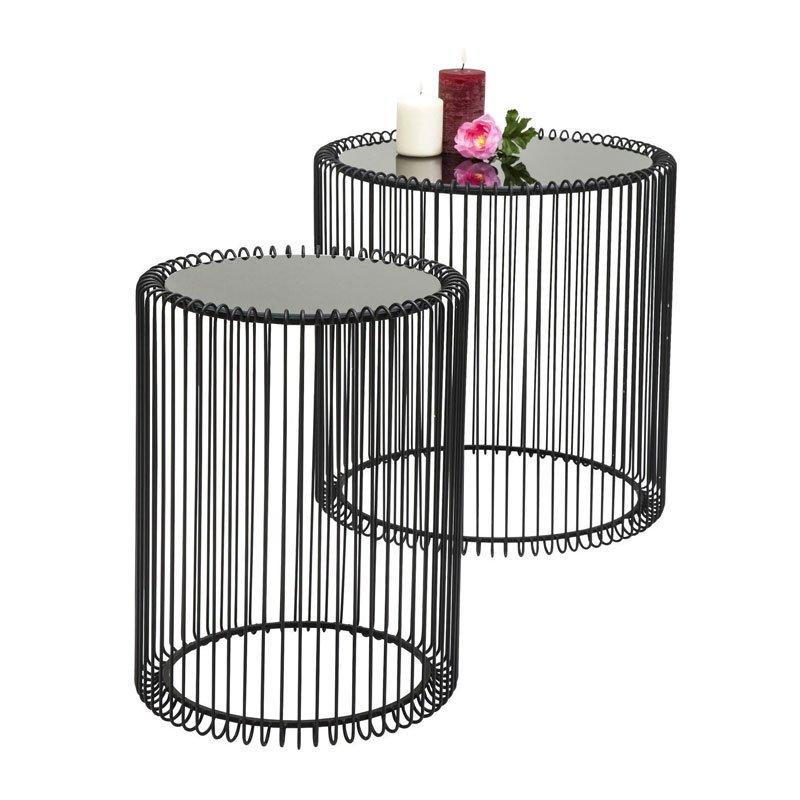 Bijzettafelset zwart staaldraad Wire Kare Design Metaal Zwart