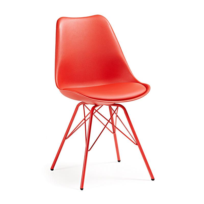 Moderne stoel met oranje patchwork laforma lars - Moderne stoel ...