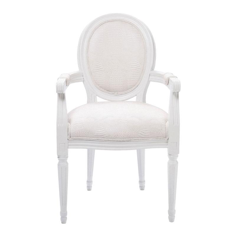 Barok stoel met armleuningen kare design louis wit for Design stoel wit