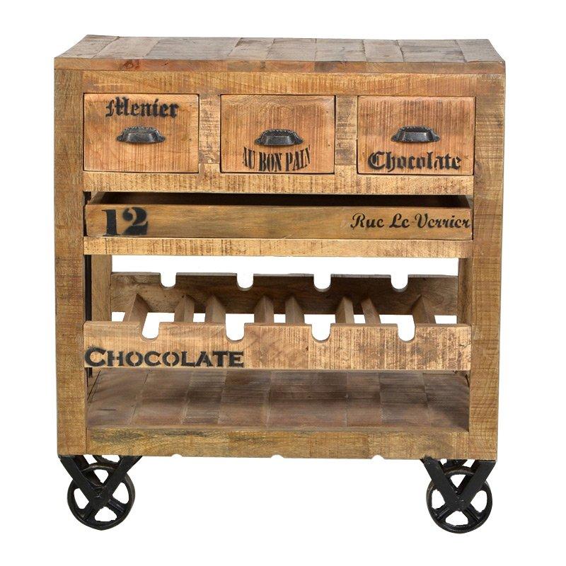 Houten wijnkast op wielen lavis porter - Houten doos op wielen ...