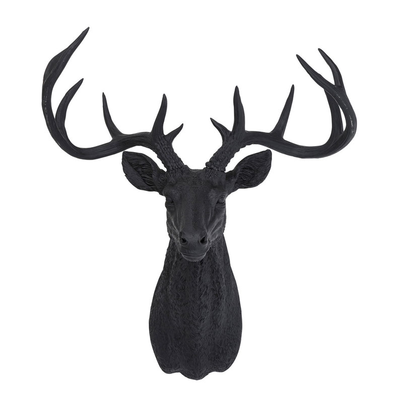 wanddecoratie hertenkop kare design deer rubber black
