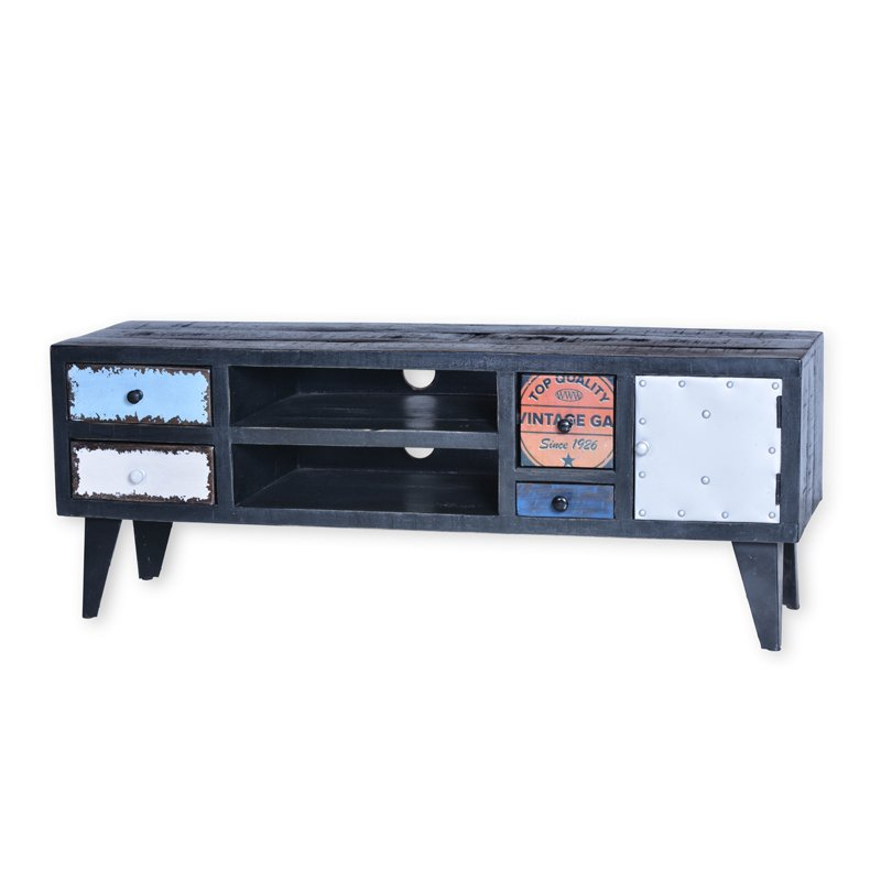 Zwart tv-meubel met gekleurde lades  Lavis Mavas  LUMZ.nl