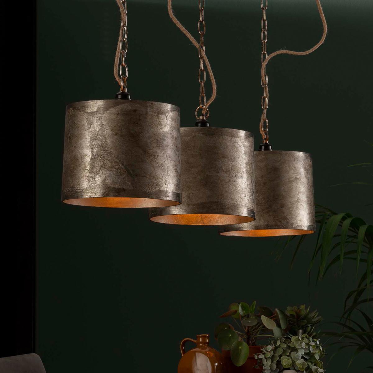 3-delige hanglamp antiek nikkel