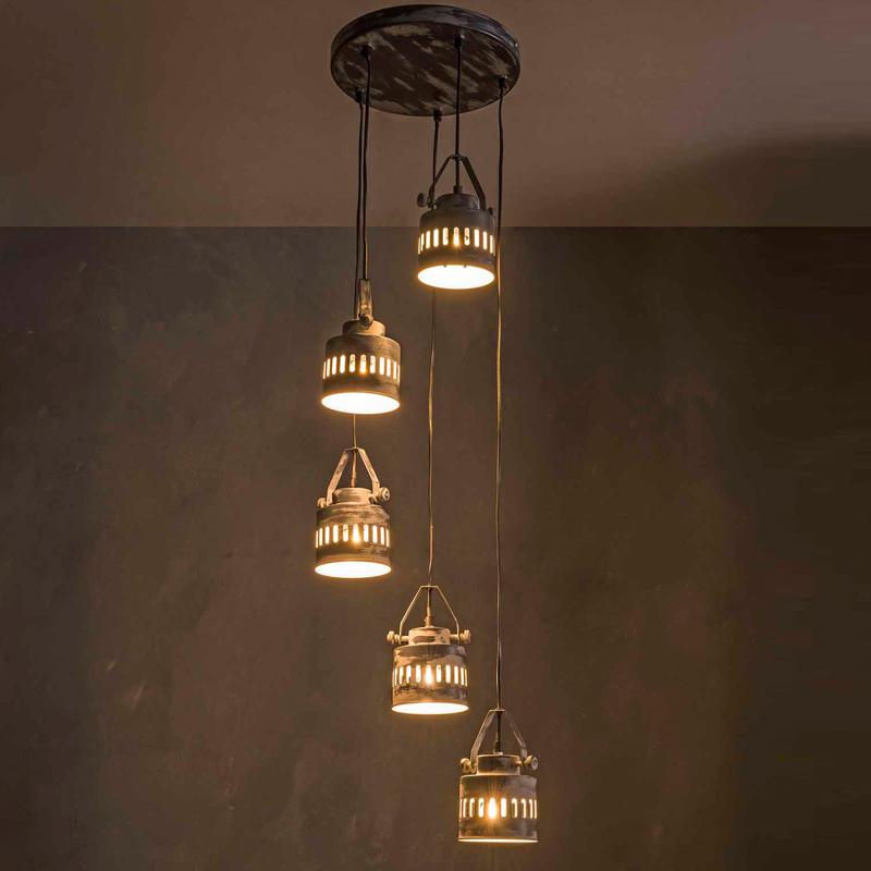 5-spots industriele hanglamp | santa iron | lumz