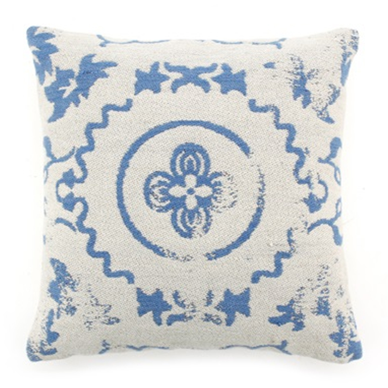 Kussen Blauw Wit.Authentiek Vintage Kussen Wit Blauw