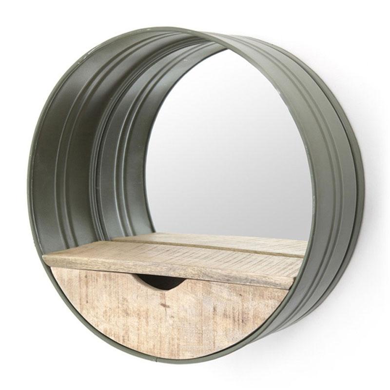 Industriele spiegel groen met hout