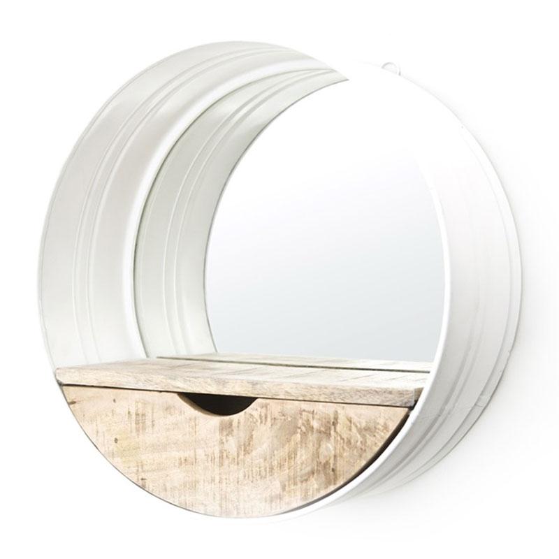 Industriele spiegel wit met hout