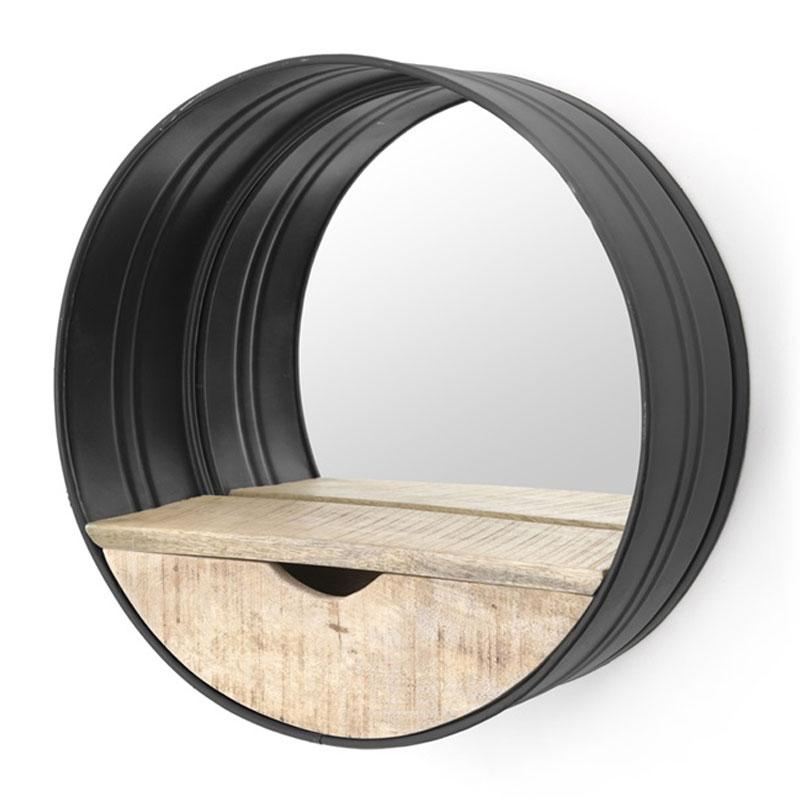 Industriele spiegel zwart met hout