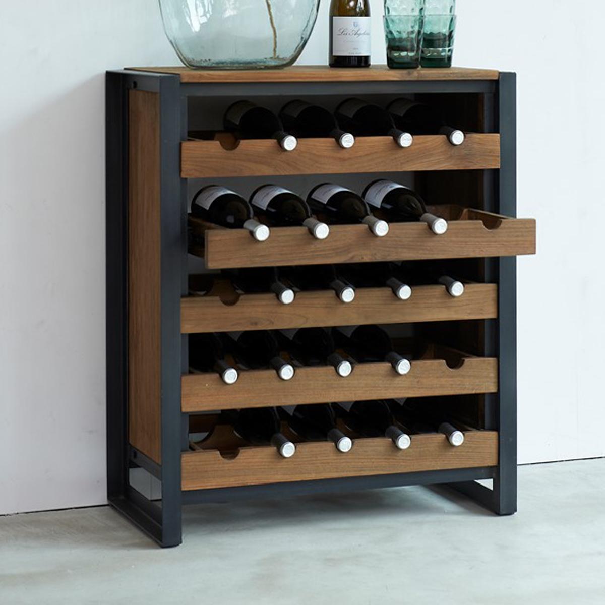 Industriele wijnkast van hout