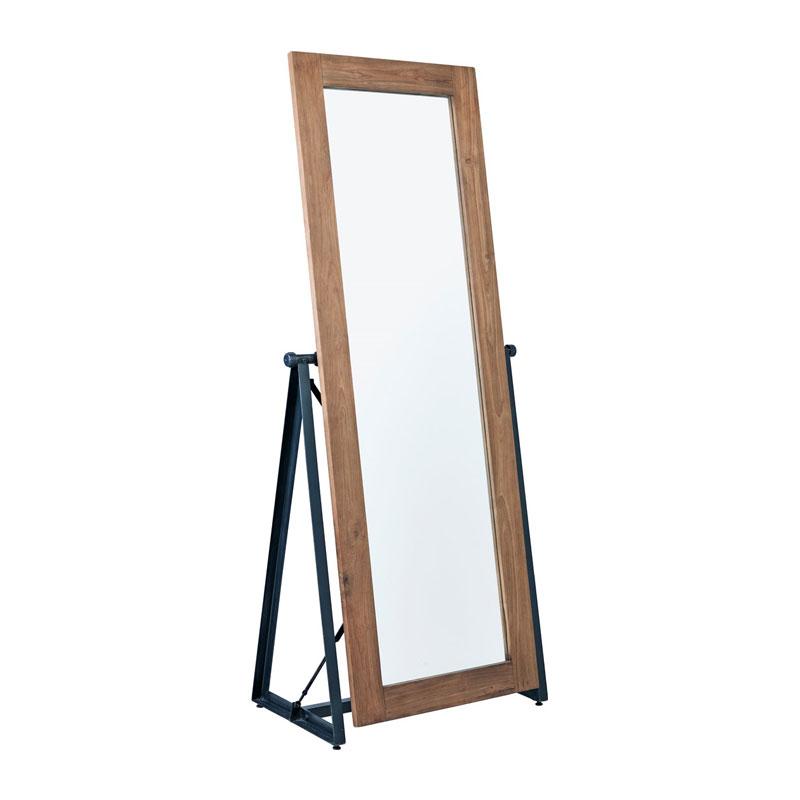 Staande spiegel van teakhout