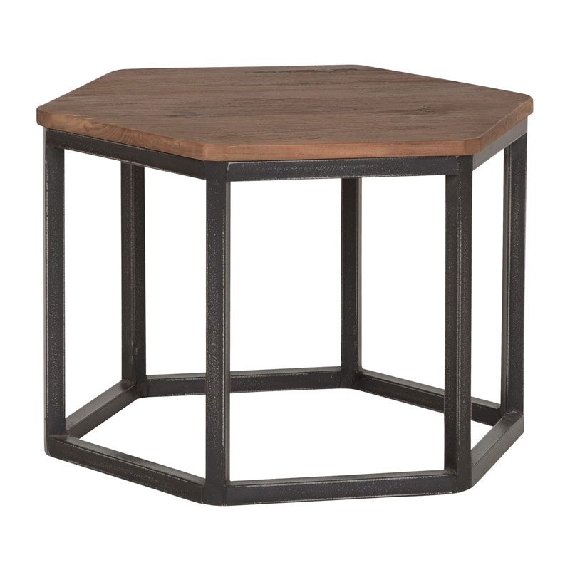 Zeshoek salontafel van teakhout