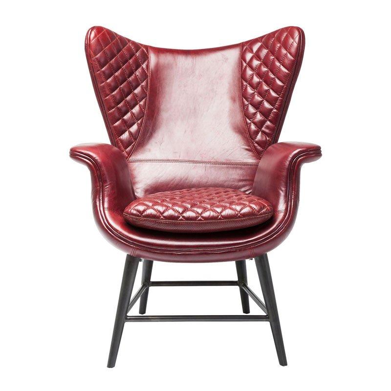 Design fauteuil leder Tudor Red