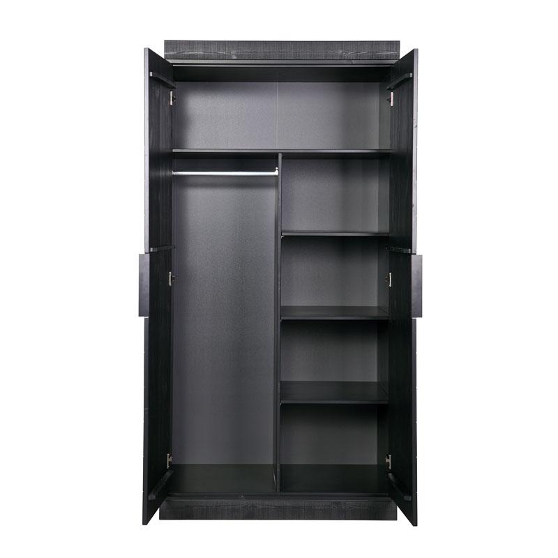 Zwarte kledingkast 2-deurs extra