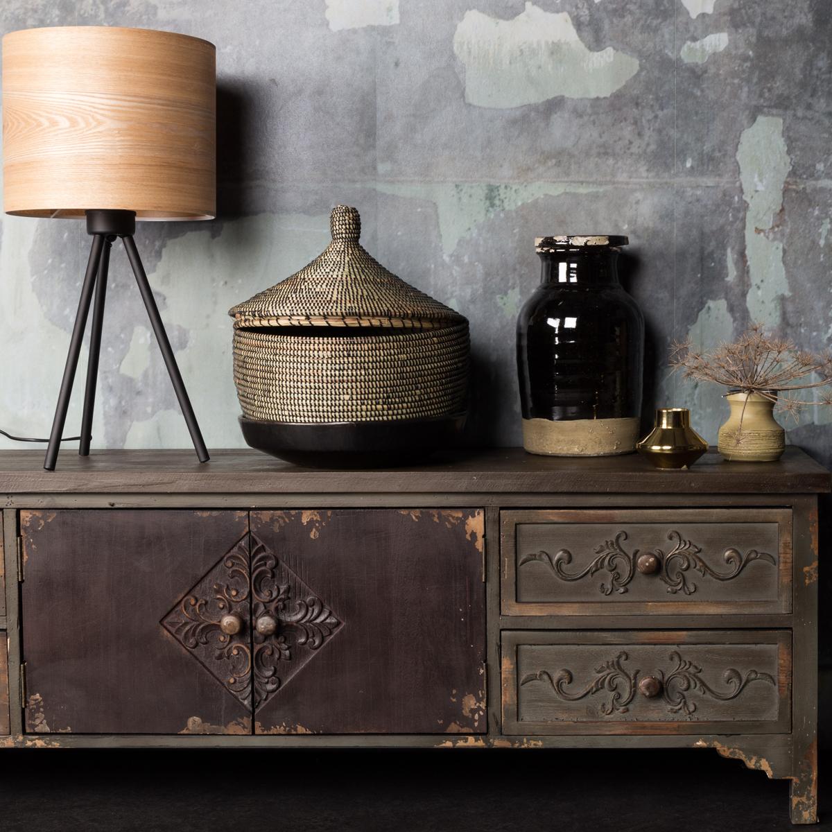 Grenenhouten vintage tv-meubel