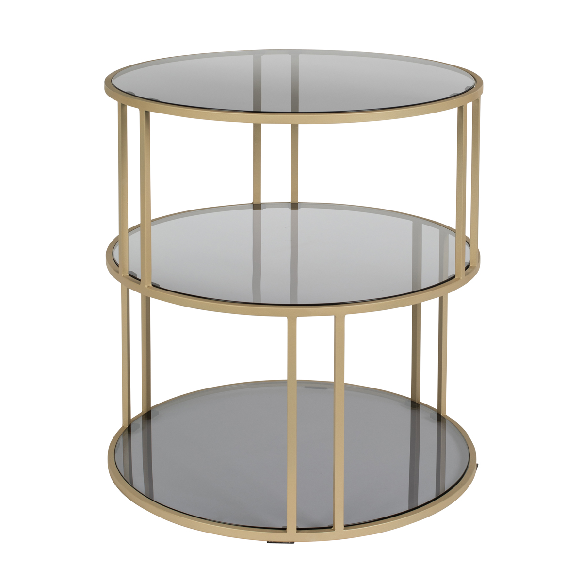 Gouden bijzettafel met donker glas