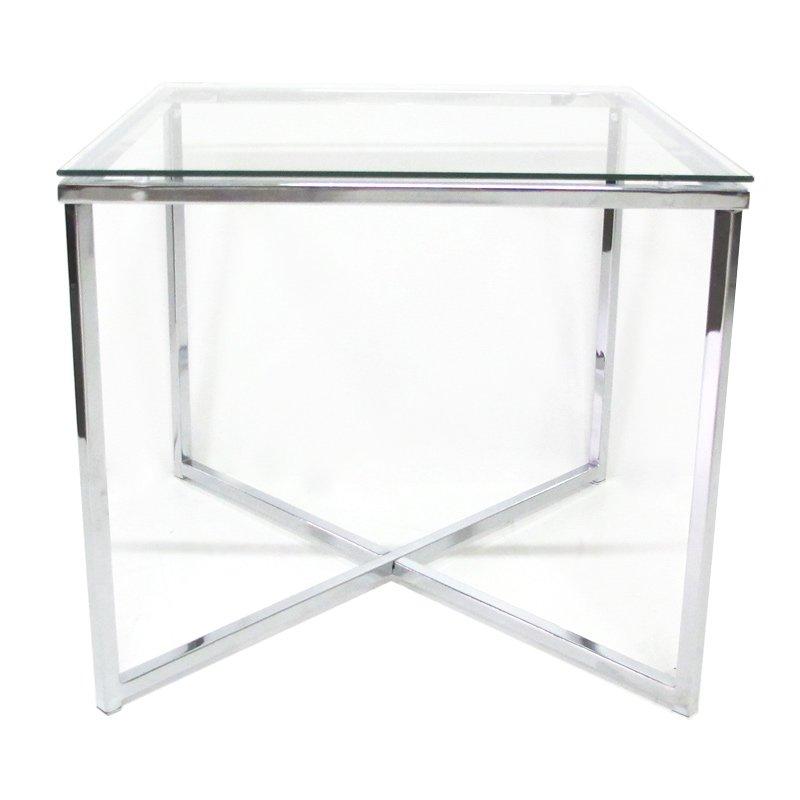 Bijzettafel Vierkant Glas.Glazen Bijzettafel Crossing Vierkant Onlinedesignmeubel Nl