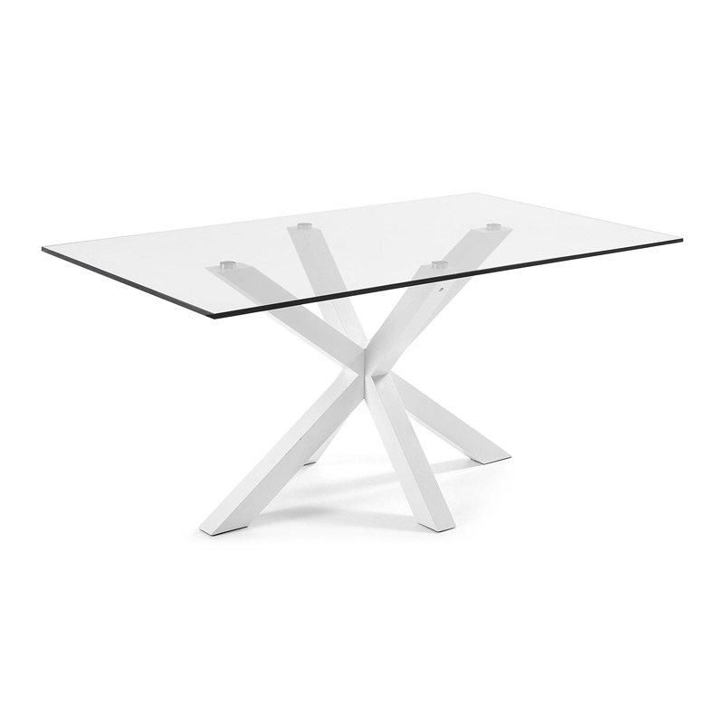 Glazen tafel met witte poot