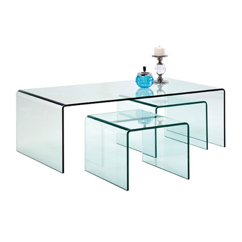 Glazen salontafel set Clear Club 3