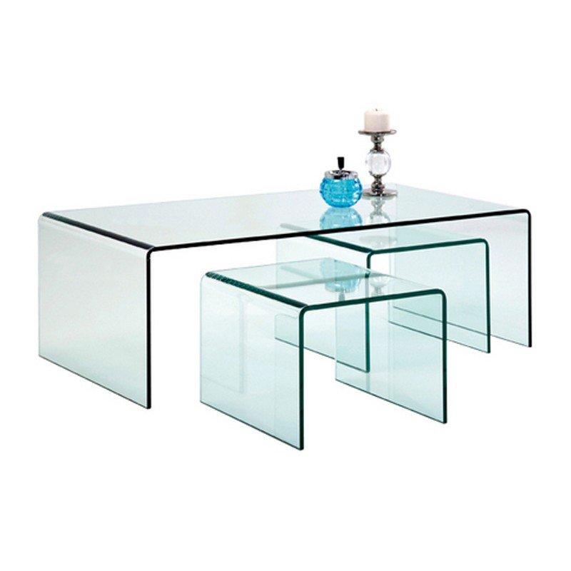 Glazen salontafel set Clear Club 3
