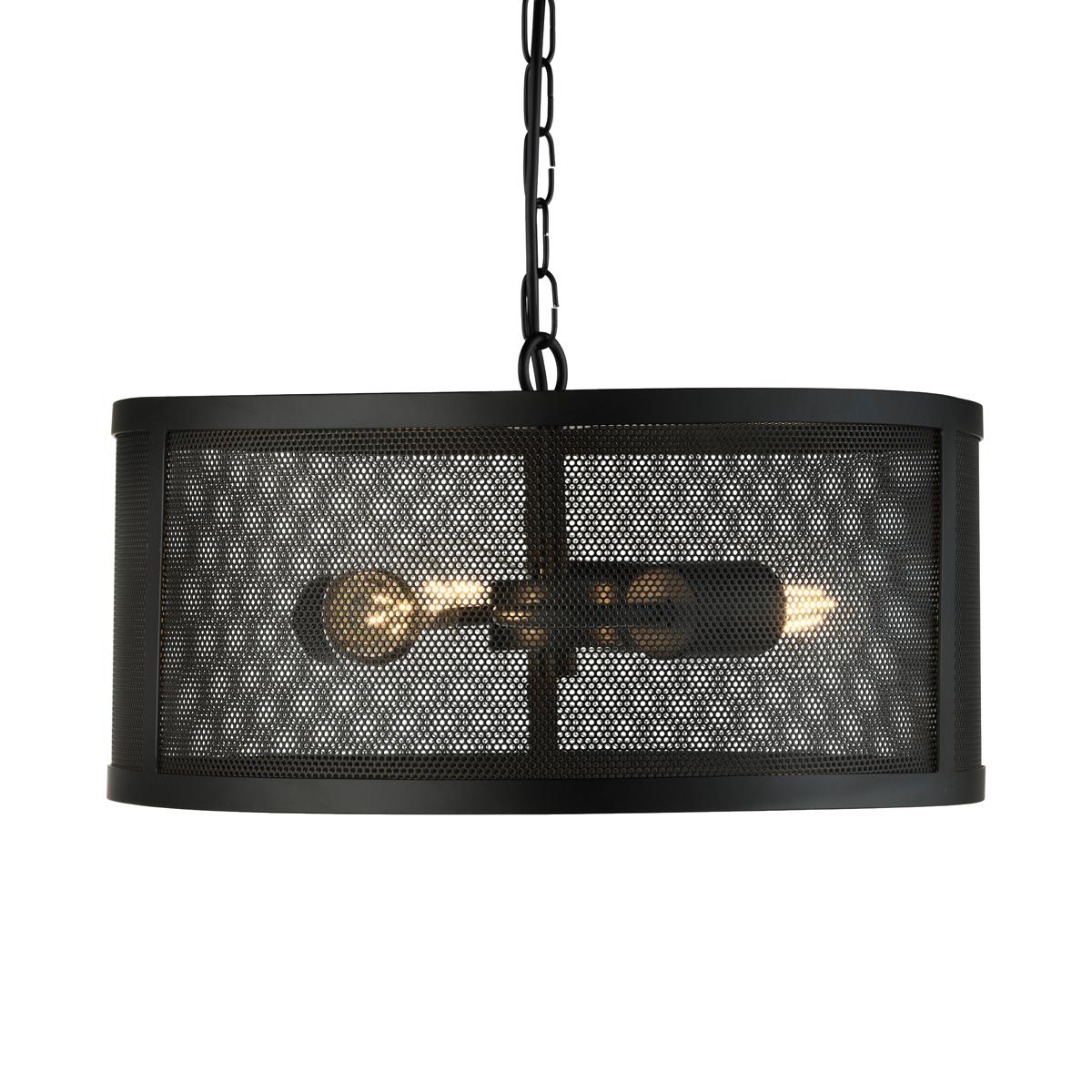 Hanglamp van zwart metaal gaas
