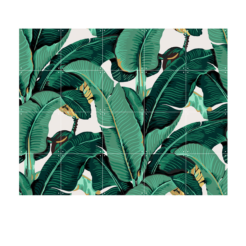 Muurdecoratie van bananenbladeren