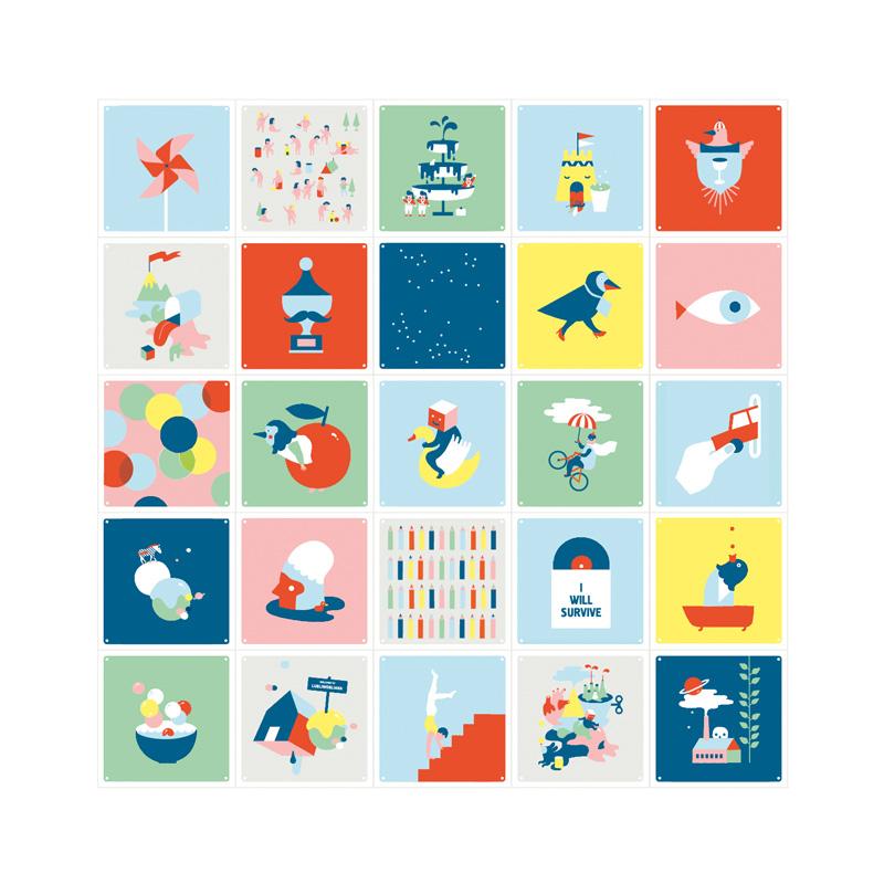 Wanddecoratie met gekleurde illustraties