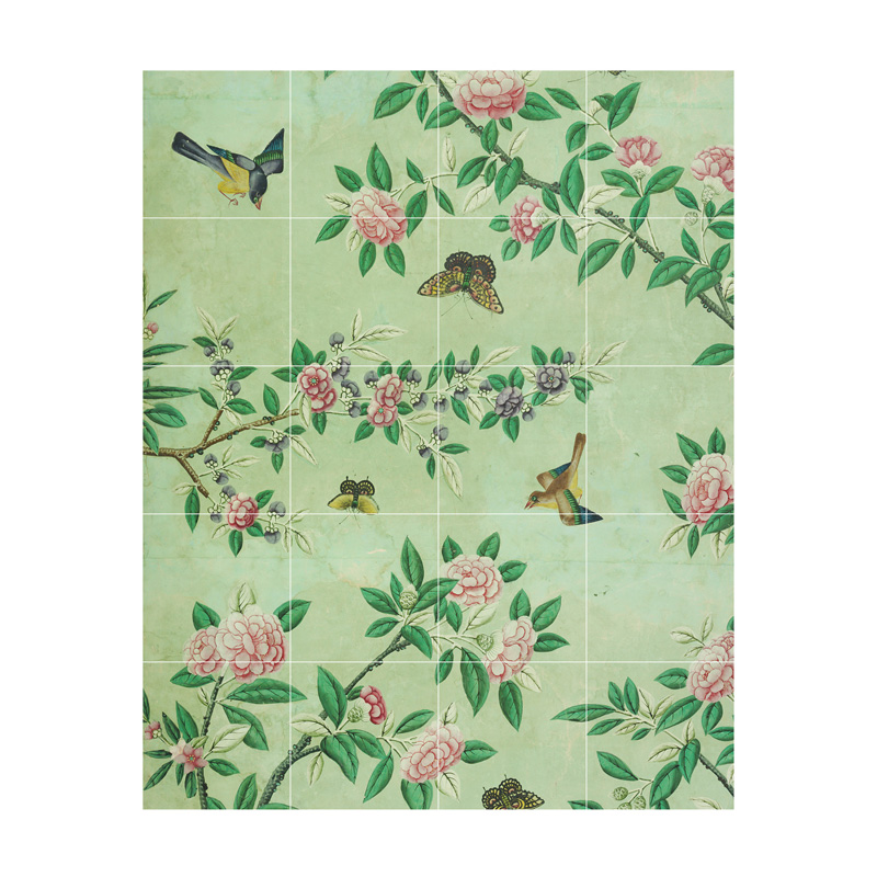 ixxi chinese wallpaper green wanddecoratie bloemen lumz