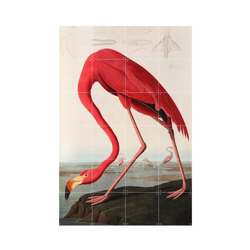 Wanddecoratie van een gebogen flamingo