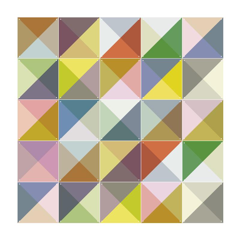 Muurdecoratie van gekleurde blokjes