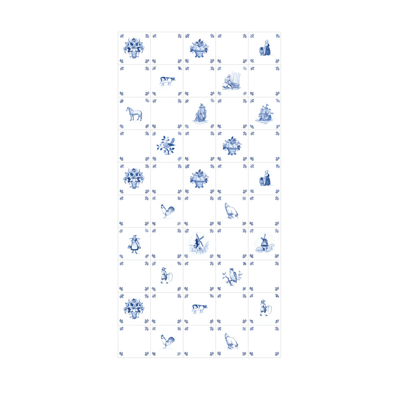 Wanddecoratie delfts blauwe print