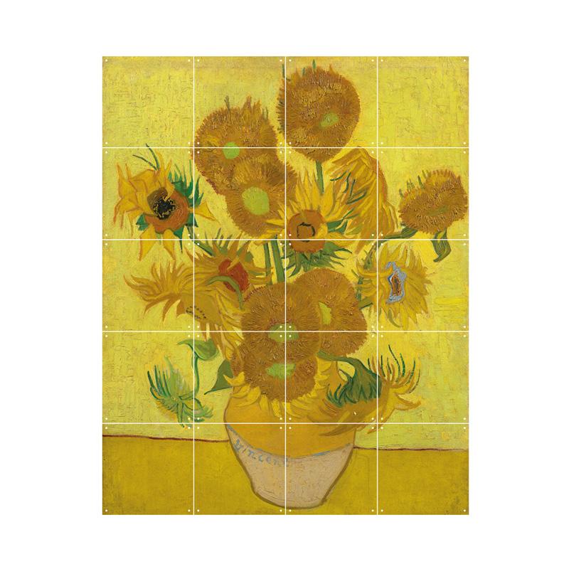 Wanddocaratie met zonnebloemen