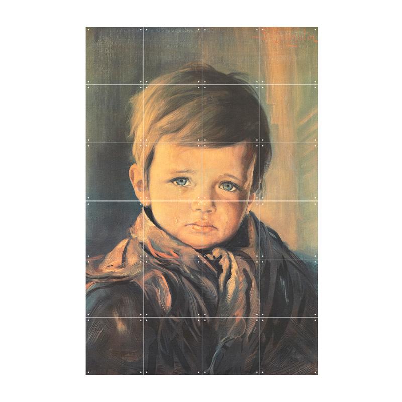 Wanddecoratie huilende jongen