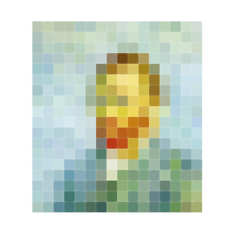 Muurdecoratie van man in pixels