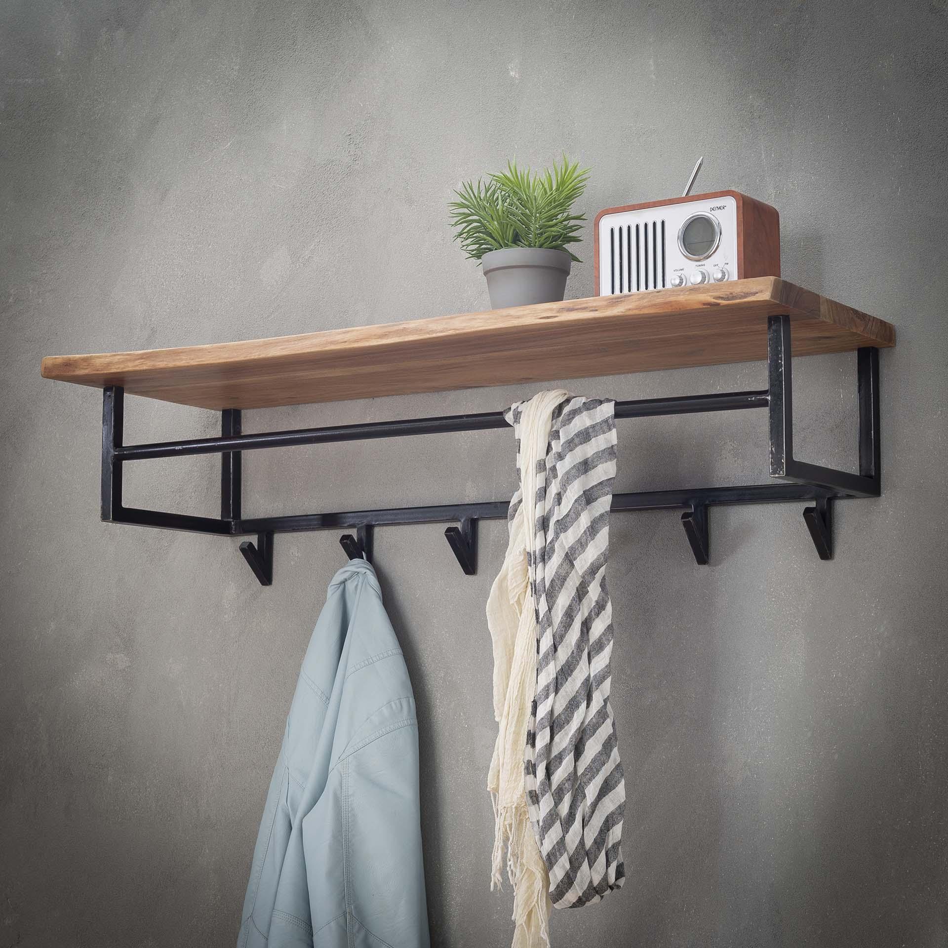 Kapstok met plank acaciahout