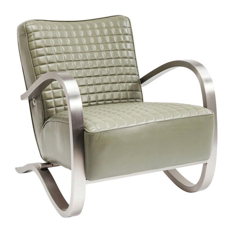 Kare design cobra groen leren fauteuil met rvs leuning for Fauteuil groen