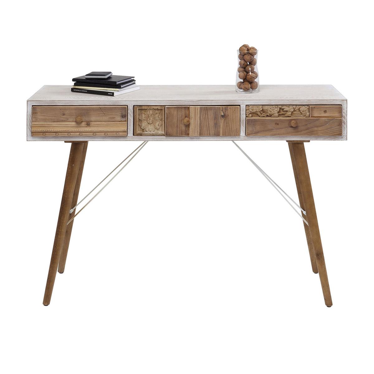 Wit bureau met houten lades