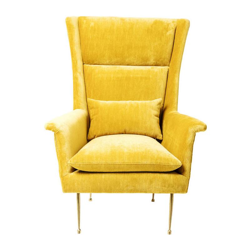 Kare design vegas forever gele fauteuil met hoge for Kuipstoel fauteuil