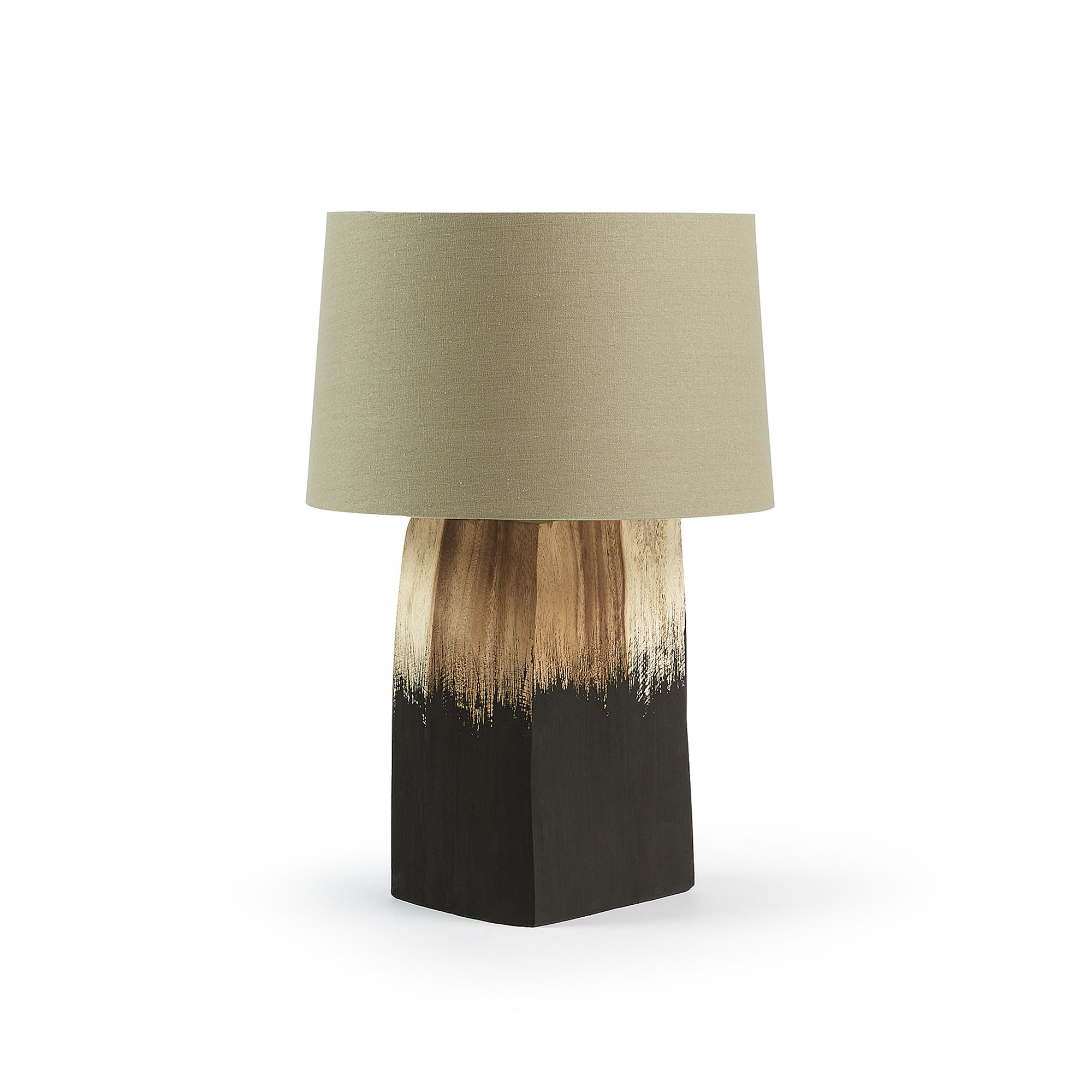 Tafellamp zwart met hout