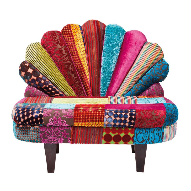 Kleurrijk design bankje Peacock