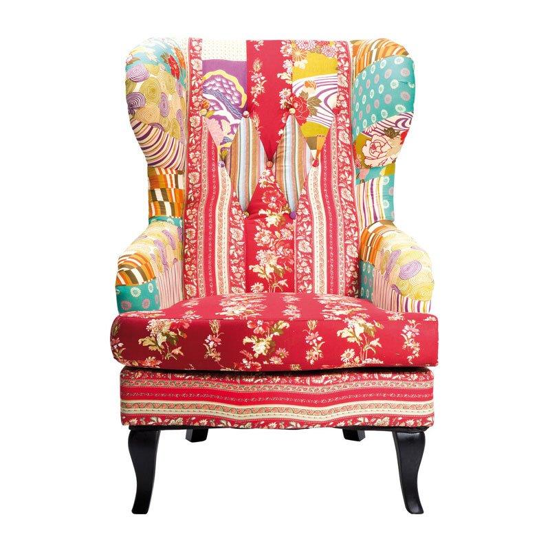 Kleurrijke fauteuil Patchwork Red