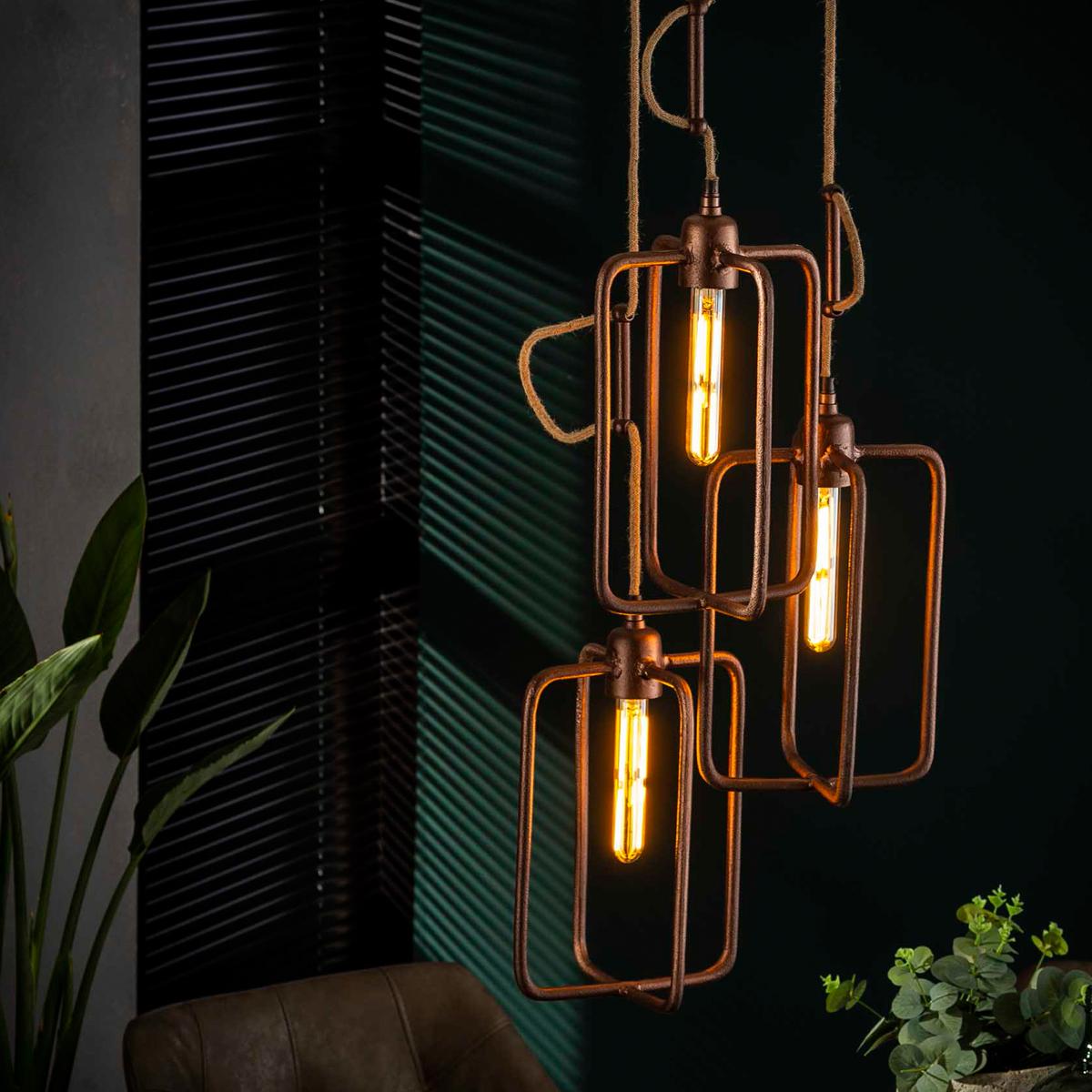 Koperen hanglamp 3-delig