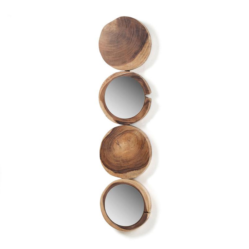 Ronde spiegels met hout