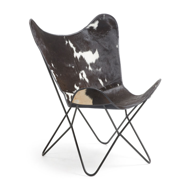 Vlinderstoel van koeienleder