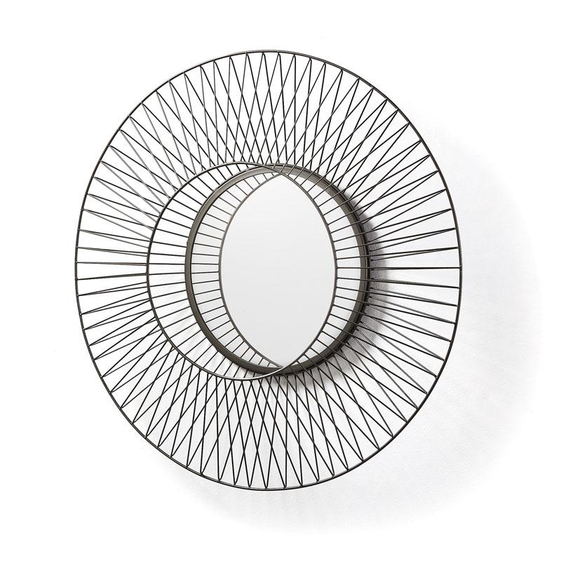 Ronde spiegel met staaldraad